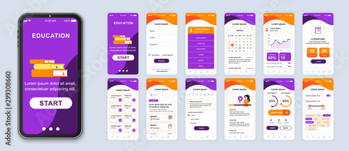 Obraz Education mobile app smartphone interface vector templates set. Online courses web page design layout. Remote studying. Pack of UI, UX, GUI screens for application. Phone display. Web design kit - fototapety do salonu