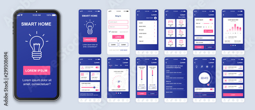 Smart home mobile app interface vector templates set. Remote temperature control. Web page design layout. Pack of UI, UX, GUI screens for application. Phone display. Web design kit