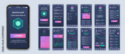 Foto op Canvas Wild West Cryptocurrency app smartphone interface design vector templates set. Mobile wallet. Crypto blockchain. Investing online. Web page design layout. Pack of UI, UX, GUI screens for application kit
