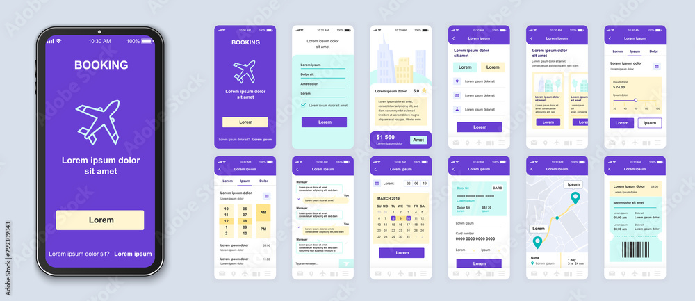 Fototapety, obrazy: Booking smartphone interface vector templates set. Travel app web page purple design layout. Pack of UI, UX, GUI screens for planning trip application. Phone display. Web design kit