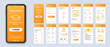 Education Smartphone Interface Vector Templates Set. Studying Online Mobile App Orange Web Design Layout. Pack Of UI, UX, GUI Screens For Application. Phone Display. Web Design Kit