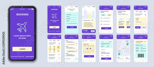 Fotografía  Booking smartphone interface vector templates set