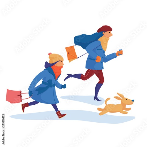 Autocollant pour porte Super heros Two girls, friends in warm clothes and a dog hurrying to shopping, feeling afraid to miss discounts, rushing, running fast, flat cartoon vector illustration isolated on white background