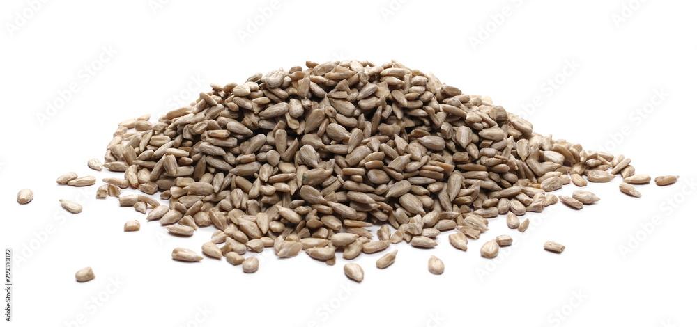 Fototapety, obrazy: Peeled sunflower seeds isolated on white background