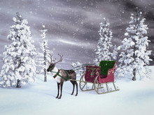 3D Rendering Of A Reindeer With Sleigh.