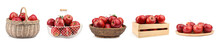 Set Of Fresh Ripe Red Apples On White Background