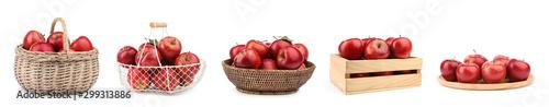 Fotografiet Set of fresh ripe red apples on white background