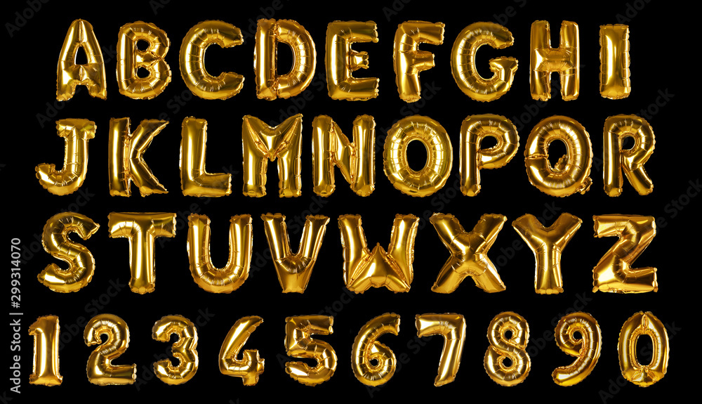 Fototapeta Set with golden foil balloons in shape of letters and numbers on black background
