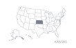 High detailed vector map - United States of America. Map with state boundaries. Kansas vector map silhouette