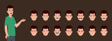 Young Boy Character With Different Facial Expression Set. Character Sheet For Your Design, Animation, Motion Or Something Else.