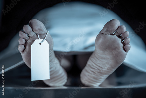 Cadaver on autopsy table at morgue, label tied to toe, close-up Canvas Print