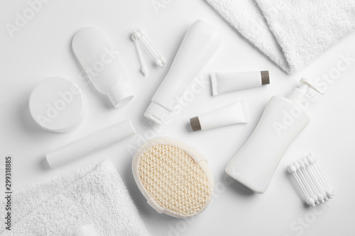 Composition with baby cosmetic products on white background, top view Fototapeta