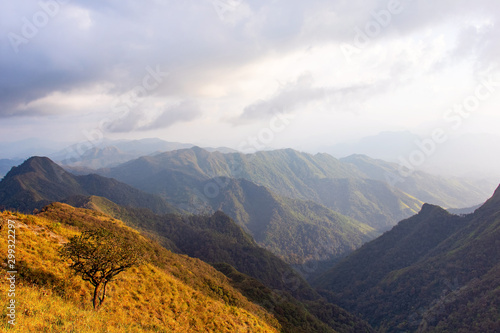 Obraz In national park Thailand.Mountain and blue sky. Cloudy and trees,fresh air,good time.Doi Luang in Tak Province Thailand.photo concept Thailand landscape and nature background    - fototapety do salonu