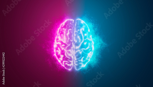 Obraz cervello, intelligenza artificiale, sinapsi, memoria, digitale, - fototapety do salonu