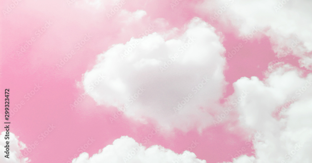 Fototapeta Pink sky and beautiful white clouds