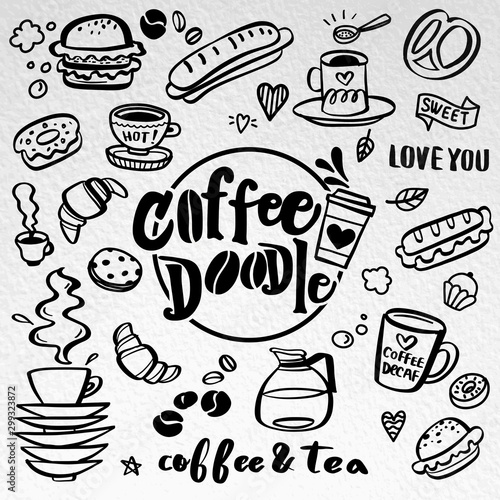 Poster Affiche vintage Cute doodle coffee shop icons. Vector outline coffee and tea drawings for cafe menu