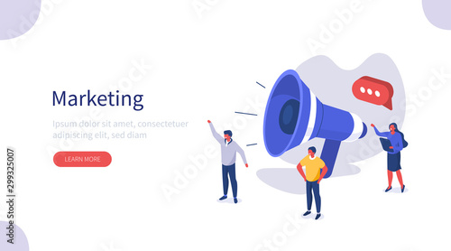 Foto op Canvas Wild West People use Big Loudspeaker to Communicate with Audience. PR Agency Team work on Social Media Promotion. Public Relation, Digital Marketing and Media Concept. Flat Isometric Vector Illustration.