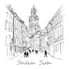 Vector black and white sketch of Church of St Nicholas, Stockholm Cathedral or Storkyrkan, Gamla Stan in Old Town of Stockholm, capital of Sweden