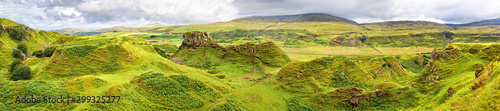Montage in der Fensternische Pistazie Panorama of famous mystic Fairy Glen, a green valley with romantic landscapes. Isle of Skye, Scotland.