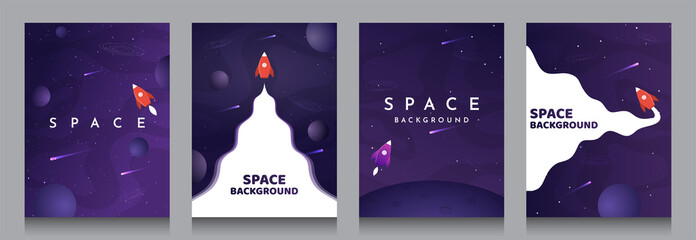 Vector illustration in abstract flat style. Minimalistic color space. Space exploration concept. A4 posters with copy space for text. Set of violet backgrounds. Creative dark wallpaper.  Modern design