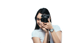 Smiling Brunette Asian Woman Taking Picture On Digital Camera Isolated On White