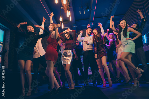 Fotomural  Low angle view photo of positive cheerful crowd people gathering have noel holid
