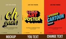 Trendy Comical 3d Text Mockup  Poster