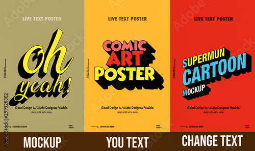Leinwand Poster Trendy comical 3d text mockup  poster