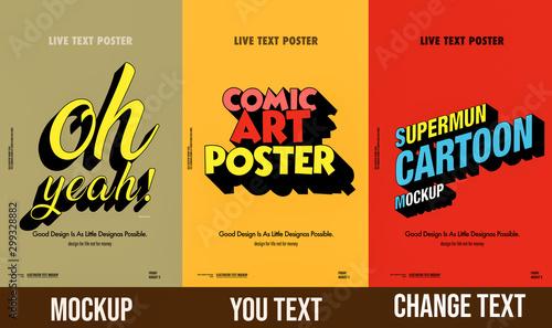 Fotografía  Trendy comical 3d text mockup  poster