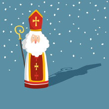 Cute Christmas Greeting Card With Saint Nicholas With Falling Snow, Drop Shadow And Pastoral Staff. European Winter Tradition. Hand-lettered Text. Flat Cartoon Design, Vector Illustration.