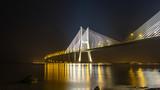 Vasco da Gama Bridge lighted at night in Lisbon, Portugal. Second longest bridge in Europe.