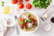 Spaghetti Bolognese With Basil And Parmesan, Italian Pasta