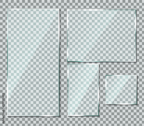 Obraz Glass with reflection effect in mockup style. Acrylic and glass texture with glare. Digital screen window frame with glossy lights effect. Gloss plastic screen, realistic mirror on transparent. - fototapety do salonu