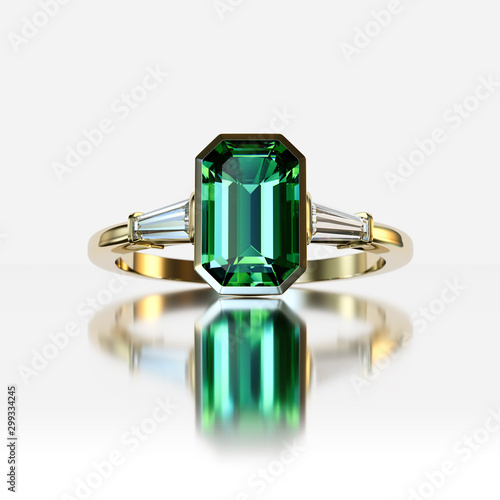 Valokuvatapetti Emerald and diamond ring on white background.