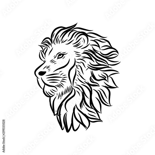 Fototapety, obrazy: Wild Lion Vector Icon Logo Template