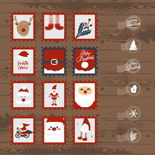 Set Of Christmas Postage Stamps And Envelopes.