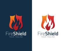 Shield Fire Flame Logo Design ...