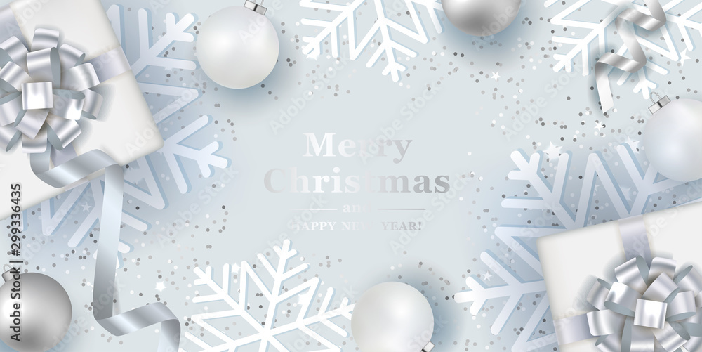 Fototapety, obrazy: Christmas silver background with realistic  balls and gift boxes. Vector top view illustration.