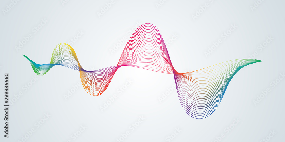 Fototapety, obrazy: Abstract smooth curved lines Design element Technological background with a line in the form of a wave Stylization of a digital equalizer Smooth flowing wavy stripes of a rainbow made by blends Vector