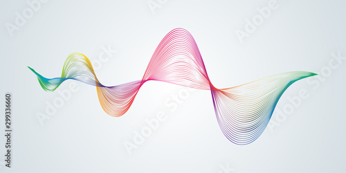 Cadres-photo bureau Abstract wave Abstract smooth curved lines Design element Technological background with a line in the form of a wave Stylization of a digital equalizer Smooth flowing wavy stripes of a rainbow made by blends Vector