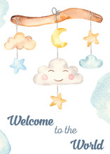 Watercolor Card With Mobile Baby Newborn Cute Boy Baby