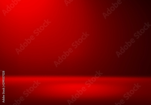 3D Illustration. Festive Red Christmas background for product placement