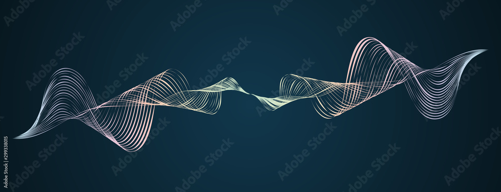 Fototapety, obrazy: Waveform smooth curved lines Abstract design element Technological dark background with a line in waveform Stylization of a digital equalizer Smooth flowing wave lines soundwave Vector graphic