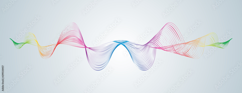 Fototapety, obrazy: Waveform smooth curved lines Abstract design element Technological background with a line in waveform Stylization of a digital equalizer Smooth flowing wavy stripes of a rainbow made by blends Vector
