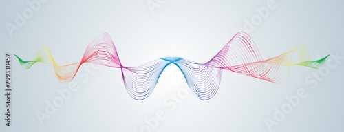 Cuadros en Lienzo  Waveform smooth curved lines Abstract design element Technological background wi