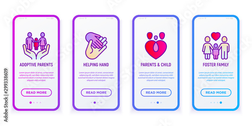 Child adoption mobile user interface with thin line icons: adoptive parents, helping hand, foster family Canvas Print
