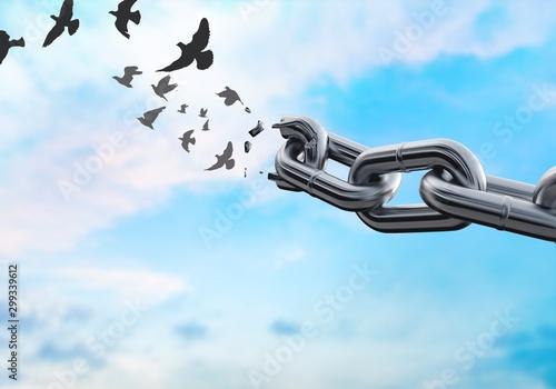Fotomural Metal chain broken break white background object