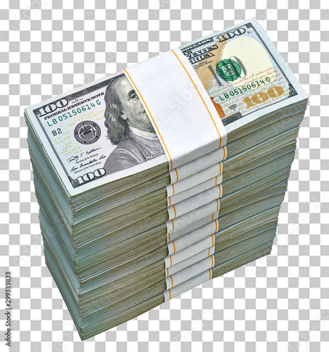 Fotografie, Obraz  New US Dollar bills bundles stack from top view isolated on checkered background