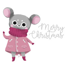 Cute Gray Mouse In A Pink Jacket A Symbol Of The Year 2020, Happy New Year Greetings, Vector Illustration