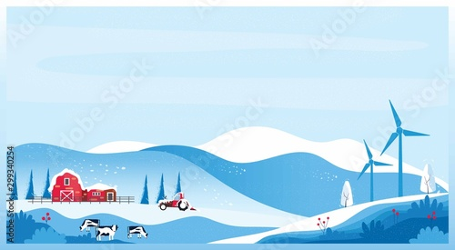 Foto auf AluDibond Licht blau Panoramic vector illustration of Countryside landscape in winter,banner of farm house.The snowy blue mountain,hill with snow fall,barn and cow. Concept of organic cattle farm in winter.red blue color